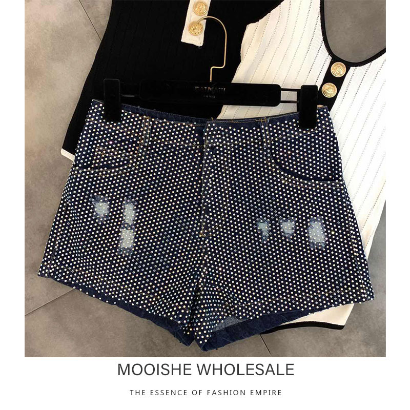 2019 Summer New High-temperature Hot Diamond Shiny Woman Trend Denim Skirt   Shorts   Female