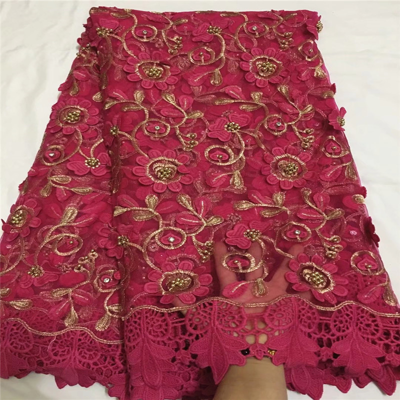 Most popular Fushia african tulle lace fabrics with beads high quality french guipure mesh lace fabric for wedding dress