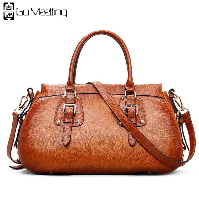 Go Meetting Genuine Leather Women Handbags Cowhide Vintage Totes Shoulder Bags High Quality Fashion Cross Body Messenger Bags 2016 genuine leather women handbags cowhide totes women shoulder bags high quality fashion cross body messenger bags ws44