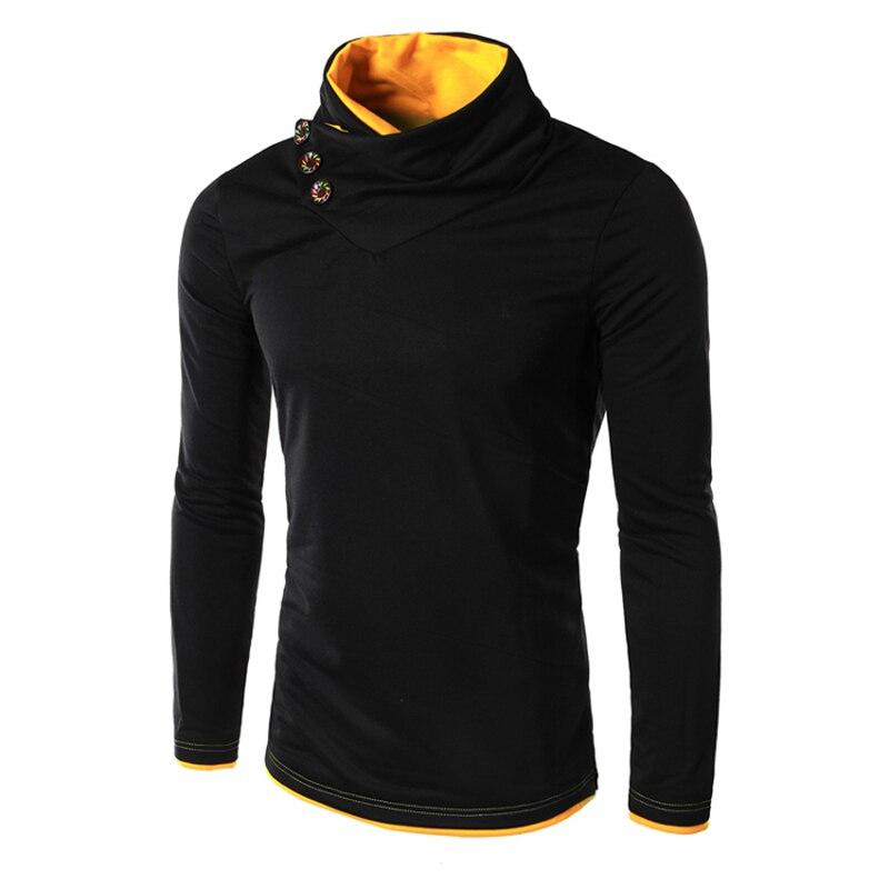 2018 mode printemps automne mâle à manches longues rouge jaune col montant bouton Design Slim Fit Hoodies Sweatshirts hommes Pulover hommes