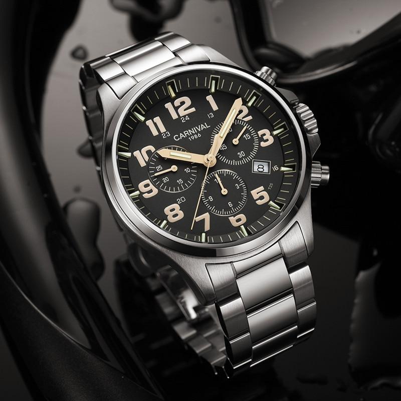 Top merk luxe SwitzerlandRonda Chronograaf stop watch mannen T25 tritium lichtgevende quartz mannen horloges klok volledige staal waterdicht-in Quartz Horloges van Horloges op  Groep 3