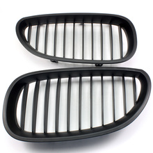 2pcs Matte Black Front Kidney Racing Grills Grille for BMW E60 E61 5 Series M5 2003 2004 2005 2006 2007 2008 2009 2010 D15 3d car m styling front grille grill trim strip cover for bmw 5 series e60 2004 2005 2006 2007 2008 2009 2010 car accessories
