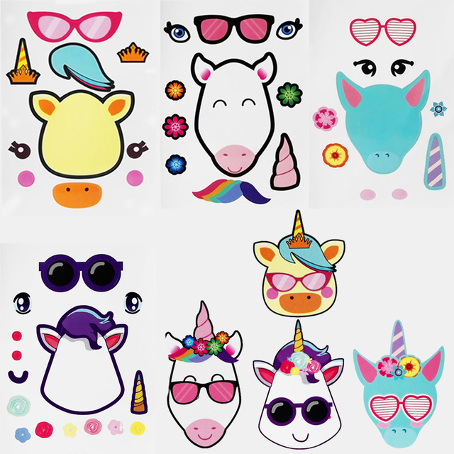 WEIGAO DIY Unicorn Party Favors Make A Stickers Kids Birthday Supplies Gifts Creative