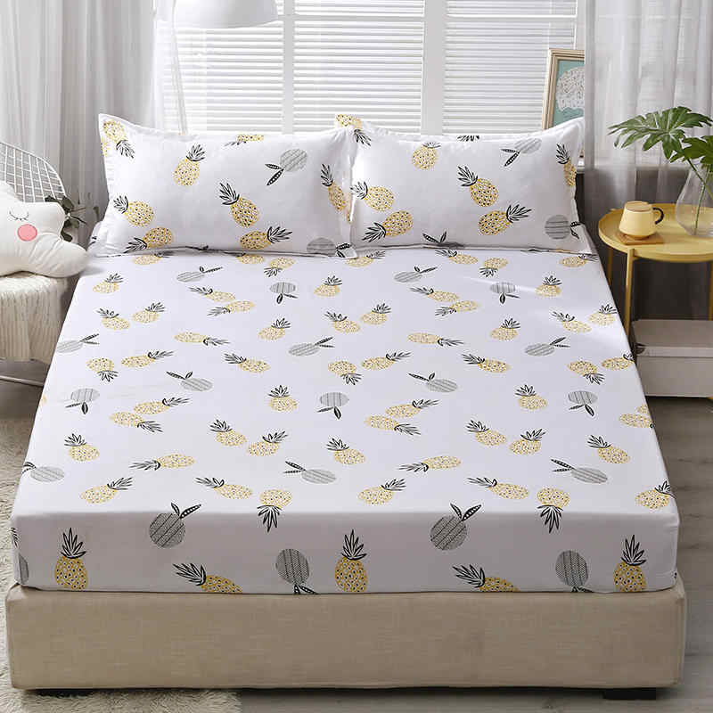 Bed Fitted Sheet with 2 Pillowcase Pineapple Printed Single Queen King Size Bed Linen Mattress Protector Cover Bottom Sheet Sets