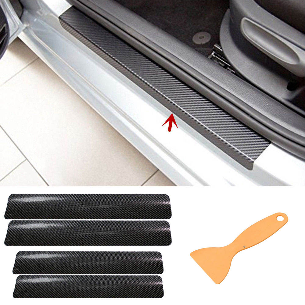 4pc Car Sill Door Protectors Stickers Universal For All Autmobile Interior Decoration Scuff Cover Decal Protection Accessories
