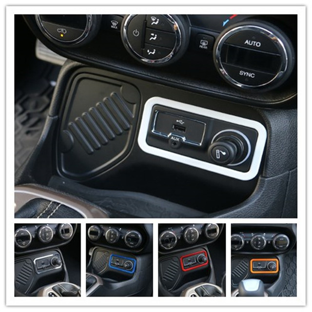 Amazing 1PCS ABS Car Cigarette Lighter Frame Trim Ring Outlet Button Cover Interior  Accessories For Jeep Renegade