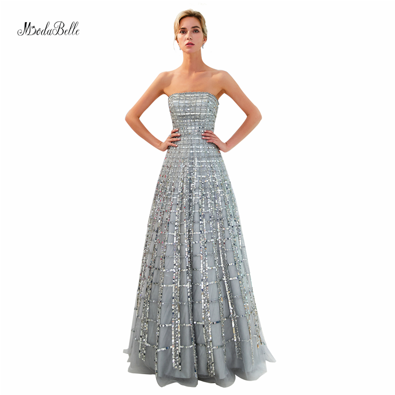 modabelle sparkly gorgeous sequin sliver prom dresses A line high ...