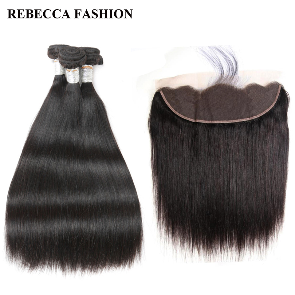 Rebecca remy Brazilian straight hair bundles with Lace Frontal Salon Human hair weave 3pcs with 13x4