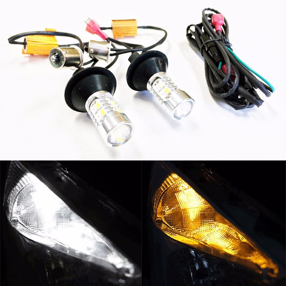 2pcs BA15s 1156 Amber/White Switchback LED Bulbs 20W 5730 20SMD High Power Bright Car LED DRL Turn Signal Light W/Load Resistor кран шаровый valtec vt 227 n 07