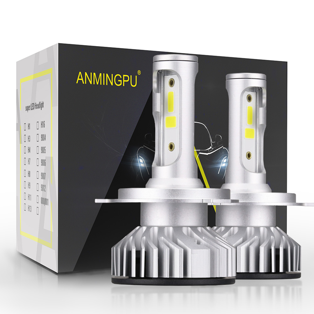 ANMINGPU 2pcs Headlight Bulbs H4 Led H7 Headlights Canbus H1 H3 HB3/9005 HB4/9006 H11 Led 6000K COB Car Light 10000LM/Pair 12V hod 9006 100w 6000k super bright car white light bulbs pair dc 12v