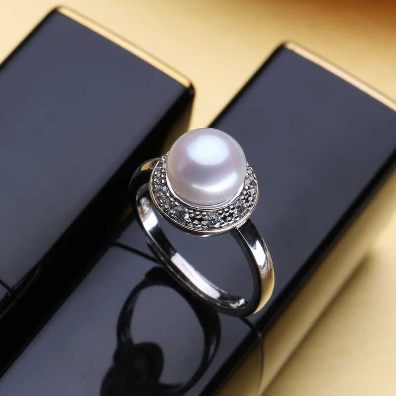 FENASY Female ring adjustable Natural Pearl Ring Engagement Ring Gift For Women 925 Sterling Silver Jewelry Accessories
