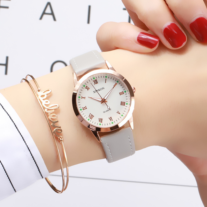 Simple Gold Women Leather Watches Elegant Small Bracelet Female Clock 2019 Fashion Brand Roman Dial Retro Ladies Wristwatches(China)