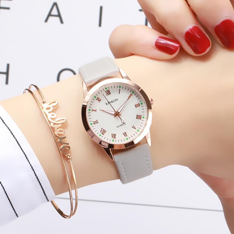 Simple Gold Women Leather Watches Elegant Small Bracelet Female Clock 2019 Fashion Brand Roman Dial Retro Ladies Wristwatches
