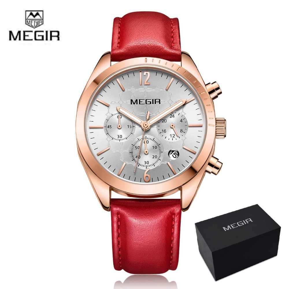 456385d5cc9 Megir 2018 Women s Leisure Quartz Watches 24 Hours Leather Strap Waterproof  Chronograph Wristwatch Lady Relogios Femininos