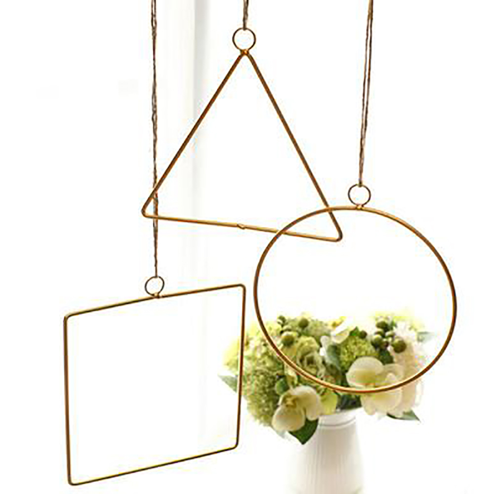 Nordic Style Wall Hanging Wrought Iron Shelf DIY Artificial Flower Stand Hemp Rope Pendant Home Wedding Geometric Wall Decor