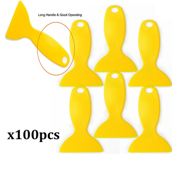 EHDIS 100pcs Yellow Vinyl film car wrap Squeegee Cleaning Scraper Window Tints Tools Handle Squeegee Car Styling Sticker Tool