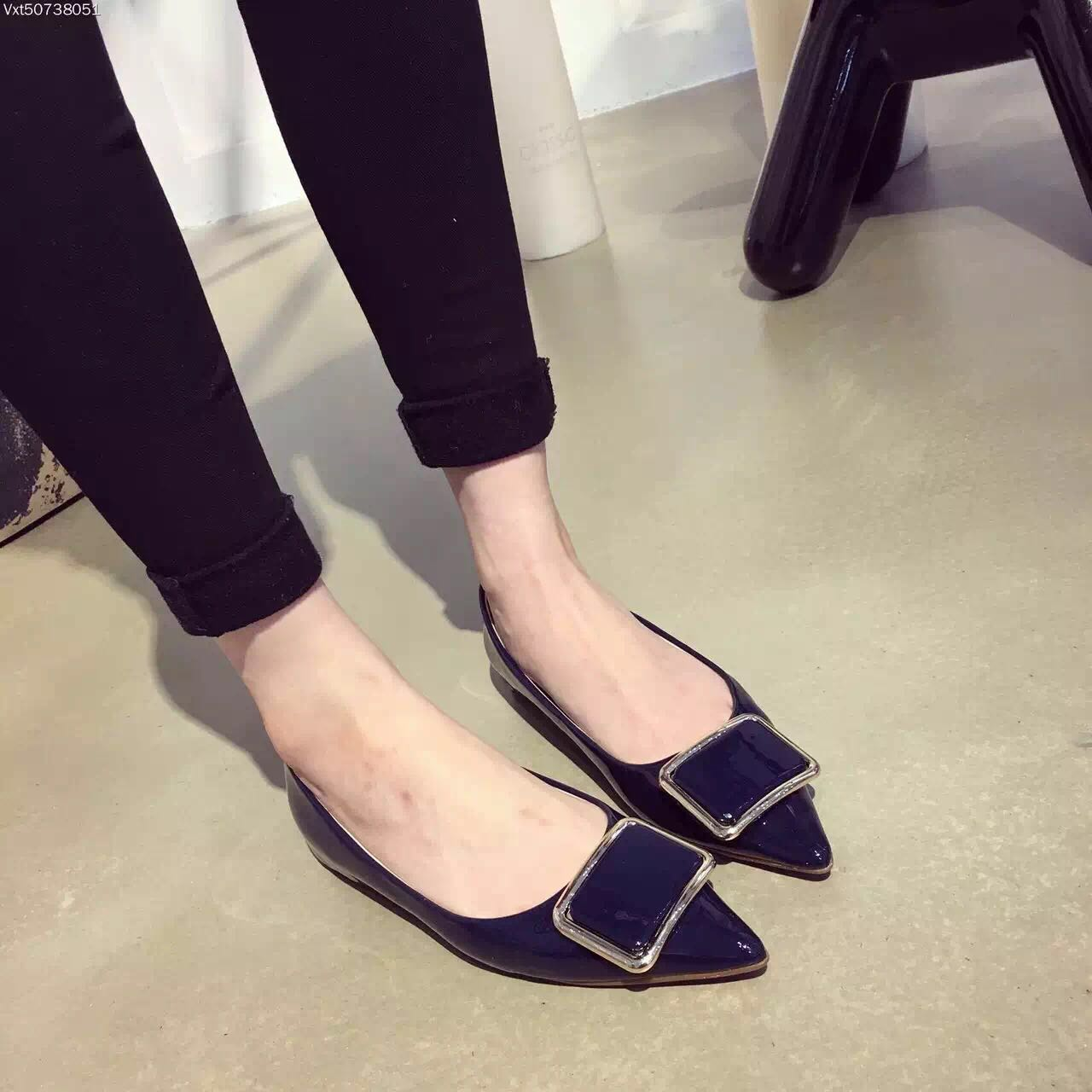 ФОТО Sexy Pointed Toe Flats Women Shoes Balerinas Buckle Single Shoes New Designer Woman Flats Wedding Pink Blue Zapatos Mujer