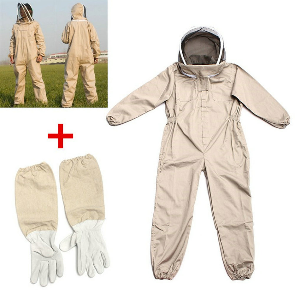 Unisex Cotton Beekeeper Bee Suit Smock Apiculture Costume + Beekeeping Protective Goatskin Gloves Gray+White Safely Clothes