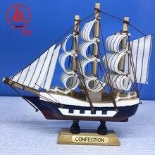 LUCKK 14CM Wooden Model Ship Nordic Home Interior Decoration Sea Wood Decor Nautical Crafts Room Miniatures Sailboat Souvenirs