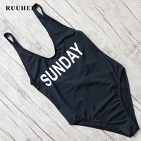 RUUHEE Bikini Sexy One Pieces Swimsuit Black Bodysuit Monokini Swimsuit Women Push Up Monokini Bathing Suit