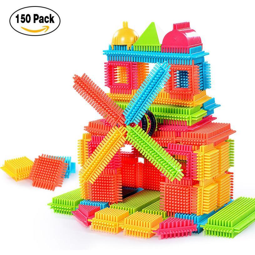 150pcs Bristle Shape 3D Building Blocks Tiles Construction Playboards Toys 5.31 mrpomelo 32pcs clear color magnet building tiles toys for kids magnetic 3d blocks construction playboards child creativity toy
