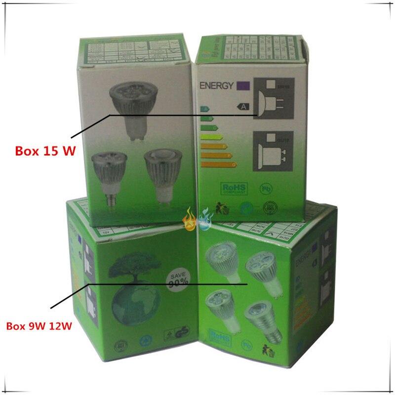 Купить с кэшбэком 50PCS LED Spotlight Dimmable led spot Lamp Super GU10 9W 12W 15W E27 E14 AC110V 220V MR16 AC&DC12V LED Spot LED Bulbs Lighting