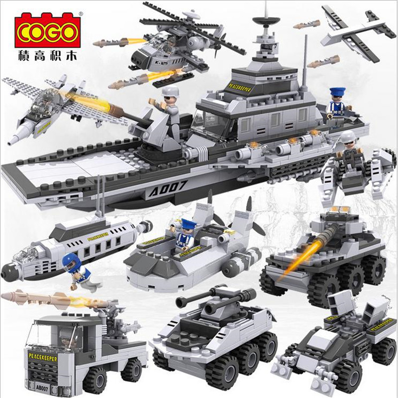 Cogo 8 In 1 Military Action Figure Aircraft Helicopter <font><b>Tank</b></font> Warship Chariots Fighting Vehicle Car Building Block Toys 13007 image