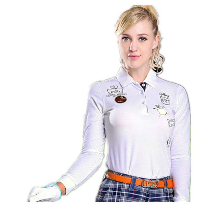 2018 New Real Winter Golf Shirts Pgm Authentic! Korean Golf Clothing Ladies Long-sleeved T-shirt Design Sports Uniforms