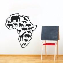 цена на Africa Map Wild Animals Wall Decals Nursery Poster Removable Animal Vinyl Sticker New Design Map Wallpaper Home Deocr Art AY0215