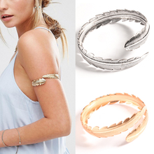 Arm Bracelet Adjustable Silver Gold Plated Feather Arm Cuff Bangle Fashion Bohemain Bijoux Bracelet Hip Hop Bangles for Women gold silver cuff upper arm bracelet bangle for women