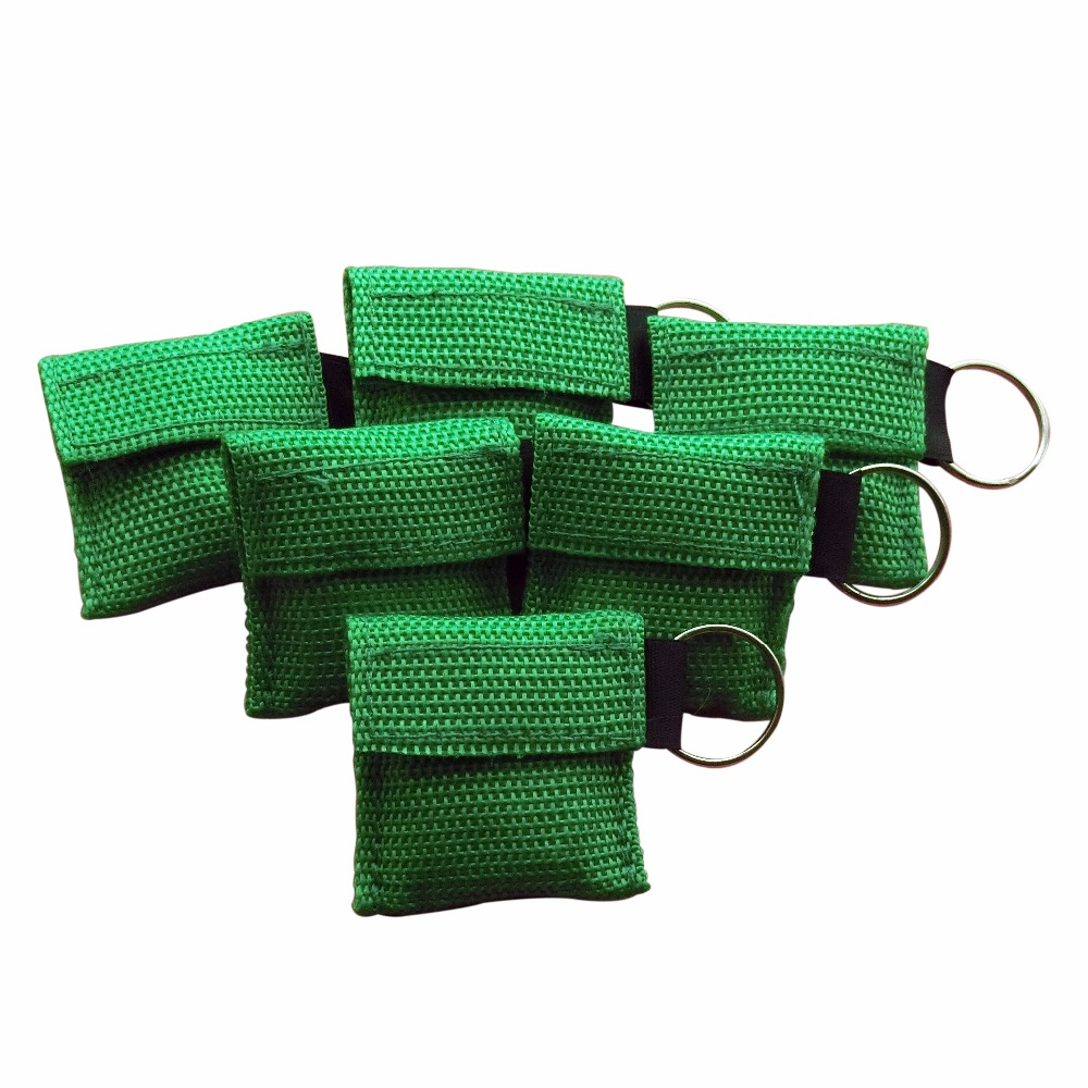 1000Pcs Emergency CPR Resuscitator Mask CPR Face Shield With Key Ring For First Aid Survival Use Rescue Kit With Green Nylon Bag 200 pcs pack cpr resuscitator keychain mask key ring emergency rescue face shield first aid cpr mask with one way valve
