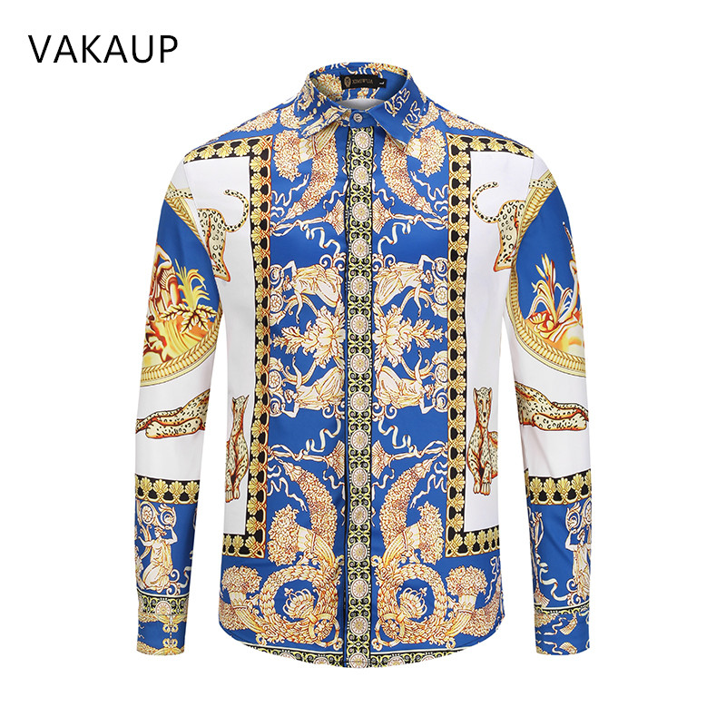 2018 Mens Hawaiian Gothic Shirt Men Chemise Homme Camisa Masculina Luxury Fancy Shirts Men Casual Slim Fit Tuxedo Shirts Men