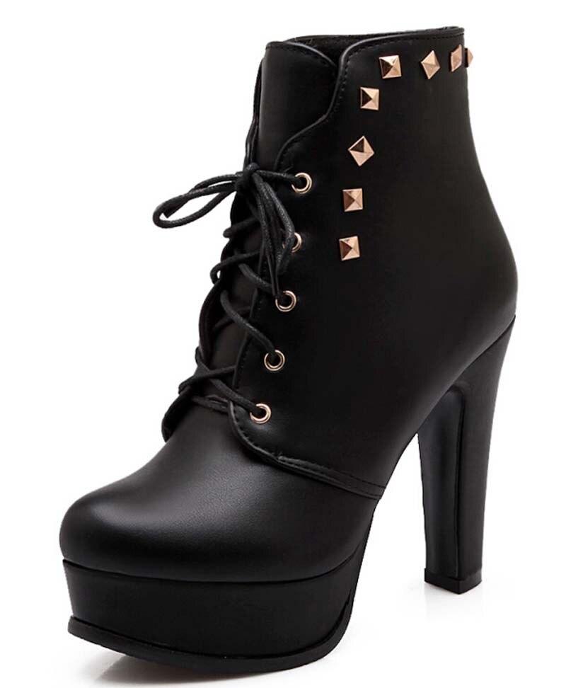size 34 43 boots rivets high heels toe