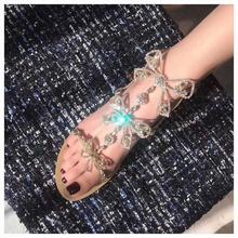 купить New Arrival Crystal Butterfly-knot Hollow Out Women Sandals Buckle Straps String Bead Woman Sandals Runway Female Summer Shoes по цене 4223.09 рублей