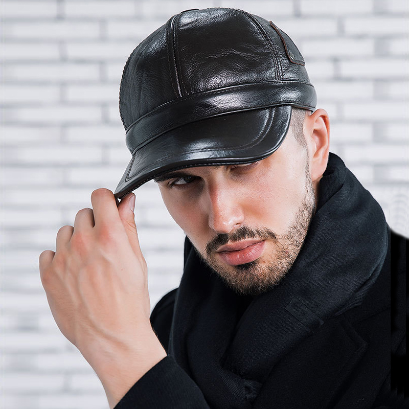 2017 Cowhide Leather Baseball Cap Men Thicken Fall Winter Hats with Ears 6 Panel Keep Warm Leather Cap Male Hats Bone casquette