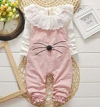 Осень детская одежда установить мультфильм девушка новорожденный одежда футболка + нагрудник брюки дети комбинезоны костюм одежда для девочек костюм младенца