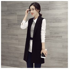Vest Cardigan Women Waistcoat Sleeveless Vest Long Jacket Solid Colete Cardigan Coat Outwear For Female Autumn FreeStyle