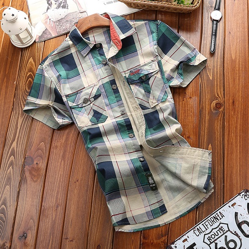 AFS JEEP Brand Men Plaid Short Sleeve Shirts 100% Cotton Breathable Large Size Men's Summer Fashion Shirt Tops High Quality 3101