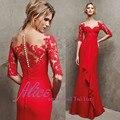 Por Encargo de Una Línea de Vestido de Noche de 2015 Nueva de Encaje Medias Mangas Formal Prom Vestidos Baratos de La Venta Caliente Vestido de Fiesta abendkleider Rojo