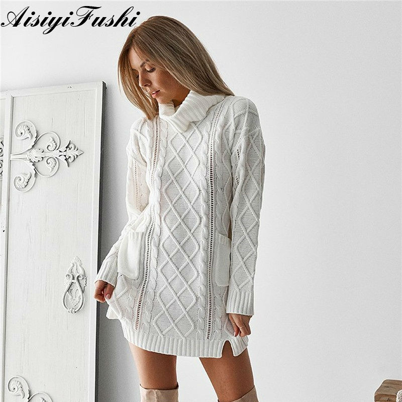 996160793e2 Women s White Turtleneck Sweater Hollow Out Coarse Cable Knit Oversized  Sweater Dress Winter Women Warm Baggy Sweater Female