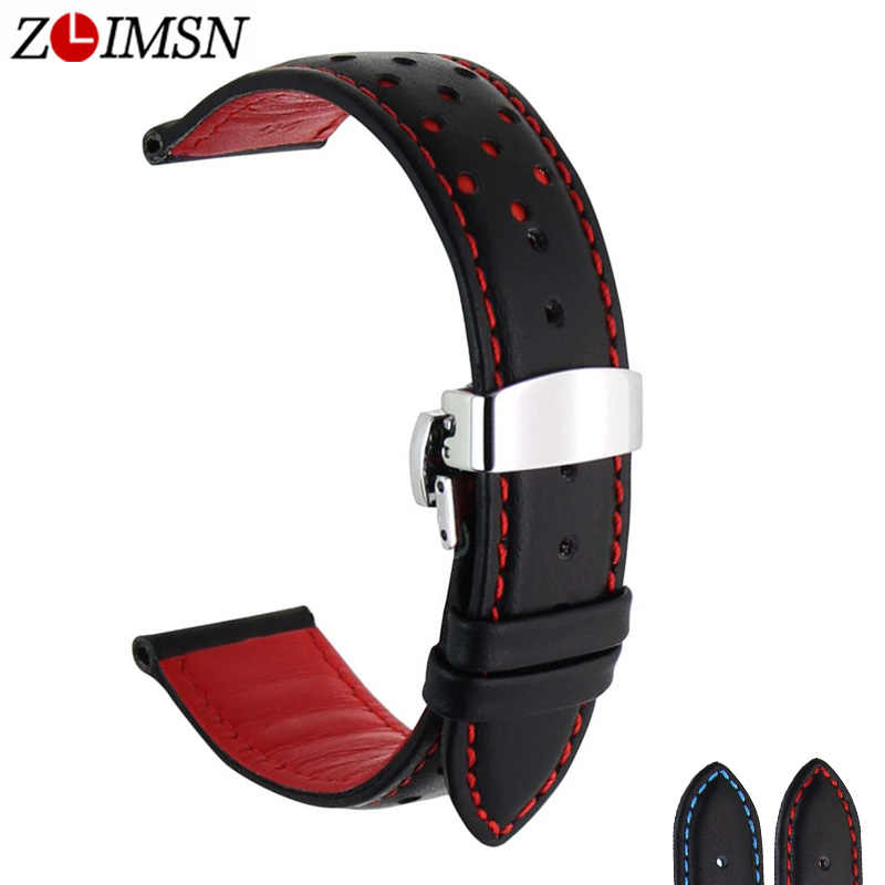 Zlimsn Lembut Genuine Leather Watch Band Tali Penggantian Hitam Biru 20 22 Mm Pria Watchband 316L Stainless Steel Butterfly Gesper