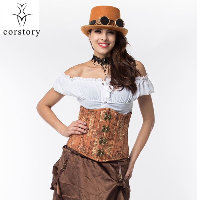 Corstory Vintage Brown Denim Steel Boned Steampunk Underbust   Corsets   And   Bustiers   Waist Control Gothic   Corset