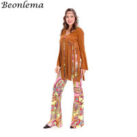 Beonlema 80s Hippie Costume American Native Indians Party Roleplay Jumpsuit Women Long Sleeves Tassel Dress Bell Printed Bottom
