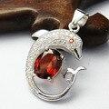 Серебряное ожерелье для женщин твердого стерлингового серебра 925 красный гранат драгоценный кулон 6 мм * 8 мм природный гранат камень