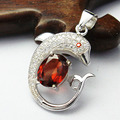 Fashion silver necklace pendant for woman solid 925 sterling silver red garnet gemstone pendant 6mm*8mm natural garnet stone