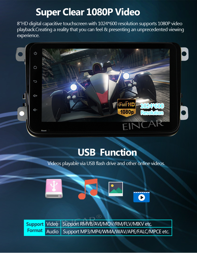 Eincar For Volkswagen Golf Candy Double 2 Din Head Unit Android 7.1 System 8 1080p Video 2GB RAM 32GB ROM Bluetooth Mirror link