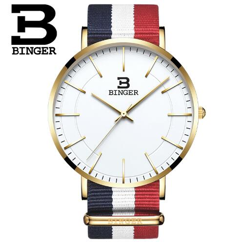Original New Fashion top luxury brand Binger watches men quartz watch Nylon strap ultra thin dial clock relogio masculino mcykcy fashion top luxury brand watches men quartz watch stainless steel strap ultra thin clock relogio masculino 2017 drop 20