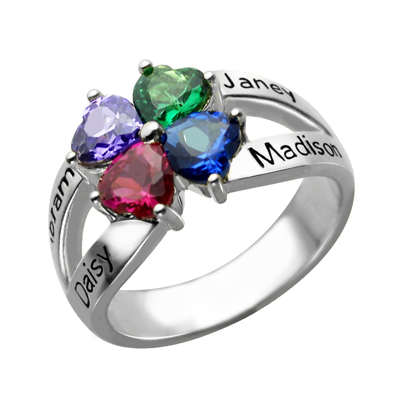 Sterling Silver Name Ring Personalized Birthstone Name