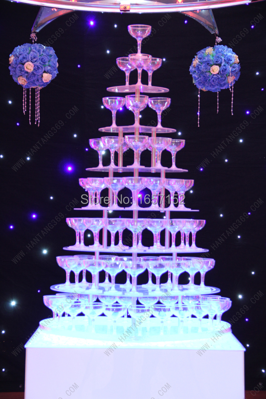 Wedding wine tower, Seven tiers heart shaped arcrylic champagne tower, festive party supplies