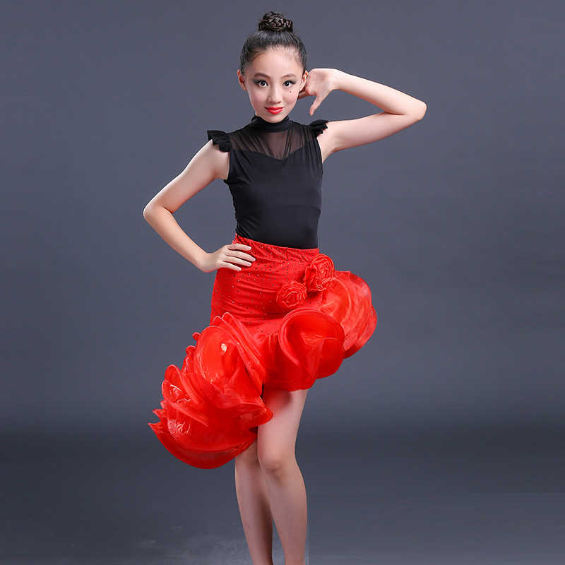 940160014a6f ... latin dance dress for girls children salsa for competition wear red skirts  costumes ballroom dancing dresses ...
